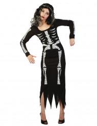 Lång skelettdräkt vuxen Halloween