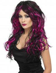 Svart peruk med rosa lockar