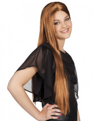 Lång brun peruk
