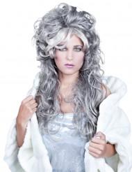Grå lockig långhårig peruk