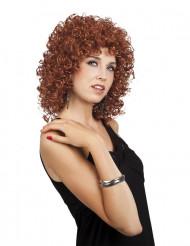Brun lockig peruk för vuxna