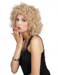 Blond lockig peruk i 80-talsstil för vuxna