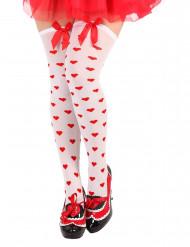 Vita strumpbyxor med röda hjärtan