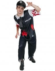 Zombie-polis kostym man Halloween