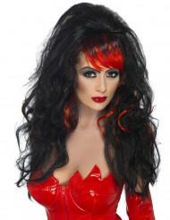Långhårig peruk lugg svart och röd