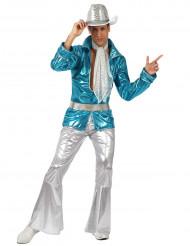 Blå discodräkt man
