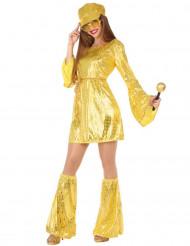 Gyllene discodräkt för vuxna till maskisen