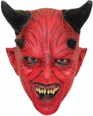 Djävul med fyra horn Röd Mask Vuxen Halloween
