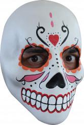 Mexikansk traditionell Mask orange, röd och rosa