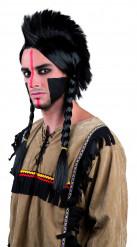 Indianperuk med tuppkam och flätor Vuxen