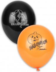 Svarta och orangea ballonger med Halloween-tryck