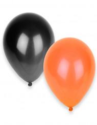 50 Svarta och orangea ballonger - Halloweenpynt
