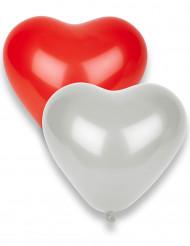 8 röda och vita hjärtballonger