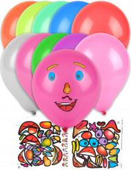10 ballonger och klistermärken med ansikten