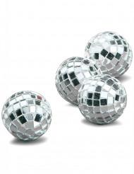 4 minikulor med silverfärgade facetter