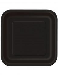 14 stora svarta papperstallrikar 23 cm