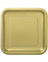 14 guldfärgade papperstallrikar