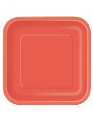 14 stora röda kvadratiska tallrikar i kartong