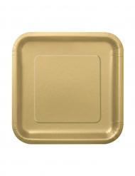 16 små guldfärgade pappersassietter