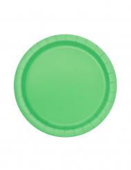 20 små tallrikar i limegrön kartong 18 cm