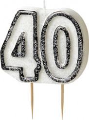 Siffran 40 - Tårtljus med svart kant till 40-årsfesten