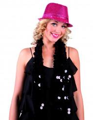 Rosa paljett hatt för vuxna