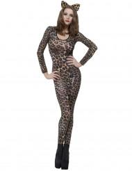 Maskeraddräkt leopard brun vuxen