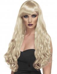 Diva - Blond lång och vågig peruk med lugg