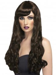 Lyxig brunett - Rödbrun lång vågig peruk för vuxna
