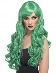 Grön lång vågig peruk