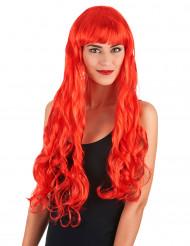 Röd lång vågig peruk