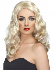 Glamour - Blond & lång peruk med vågigt hår för vuxna