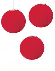 3 röda papperslyktor - Festdekoration