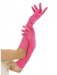Långa neonrosa handskar
