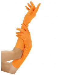 Långa neonorange handskar