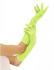 Långa neongröna handskar vuxna