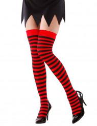 Randiga strumpor i svart och rött vuxna
