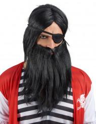 Peruk med svart skägg vuxna
