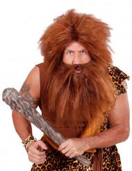 Peruk med brunt skägg vuxna