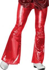 Röda glansiga discobyxor för vuxna