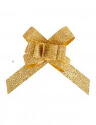 10 guldiga knutar med glitter 14 mm