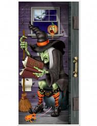 Halloweendekoration med häxa för toalettdörr