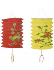Papperslyktor i rött och gult med inspiration från Asien