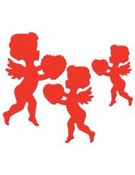 6 röda Amor dekorationer