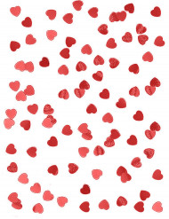 Röda metalliska konfetti hjärtan