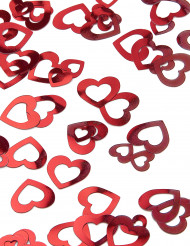 Röd hjärtkonfetti