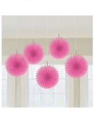5 rosa solfjädrar 15cm