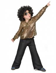 Discodräkt med guldpaljetter för barn till maskeraden