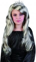 Silverfärgad prinsessperuk flickor