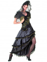 Kostym flamencodansös i svart och guld dam